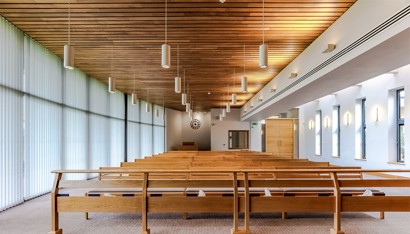 Hunter Douglas Architectural Wood Ceiling enhances natural surroundings of Aylesbury Vale Crematorium