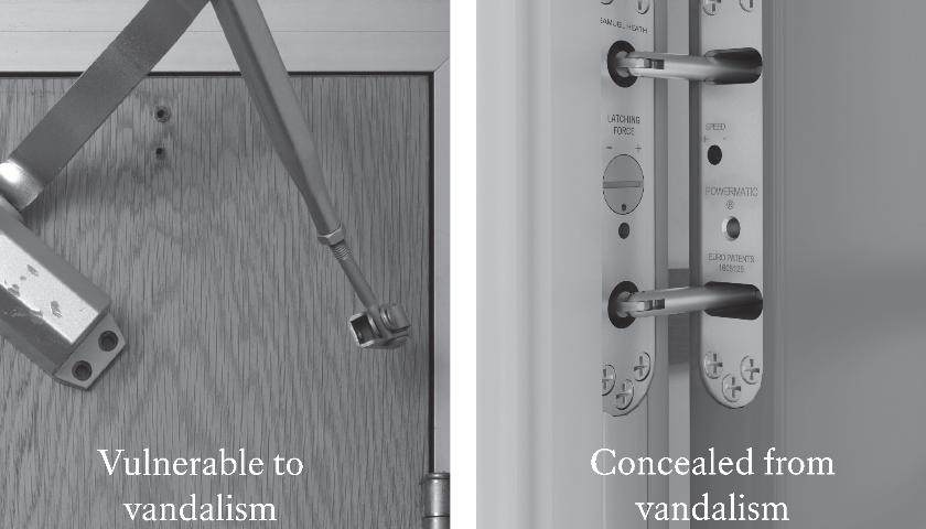Concealment reduces risk of door closer damage
