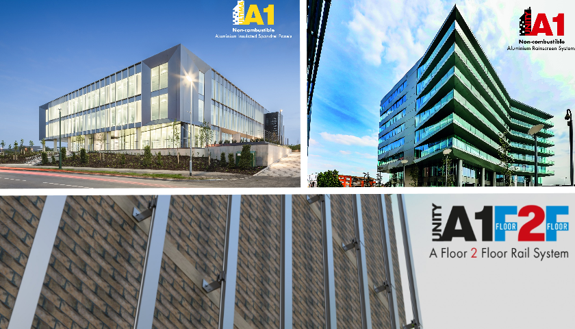 A1 fire rated aluminium rainscreen cladding panels and facade systems.